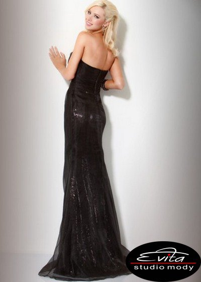 Czarna suknia w fasonie ryby 158757(J) - Suknie wieczorowe