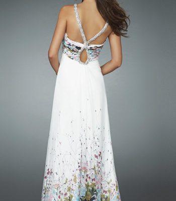 Biała suknia w kwiaty 14646LF