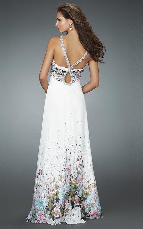 Biała suknia w kwiaty 14646LF - Suknie wieczorowe