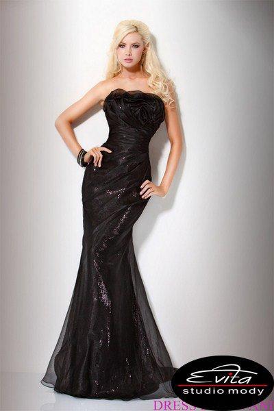Czarna suknia w fasonie ryby 158757(J)