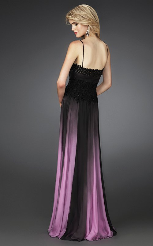 Czarno-różowa suknia wieczorowa 14043LF - Suknie wieczorowe