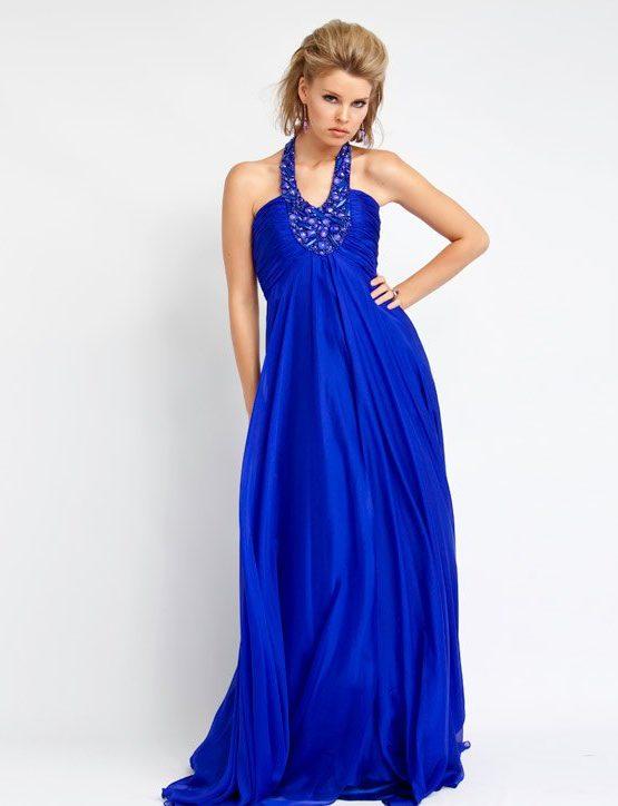 351077(J) Niebieska suknia wieczorowa