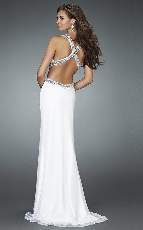 Długa, biała suknia wieczorowa 14606LF - Suknie wieczorowe