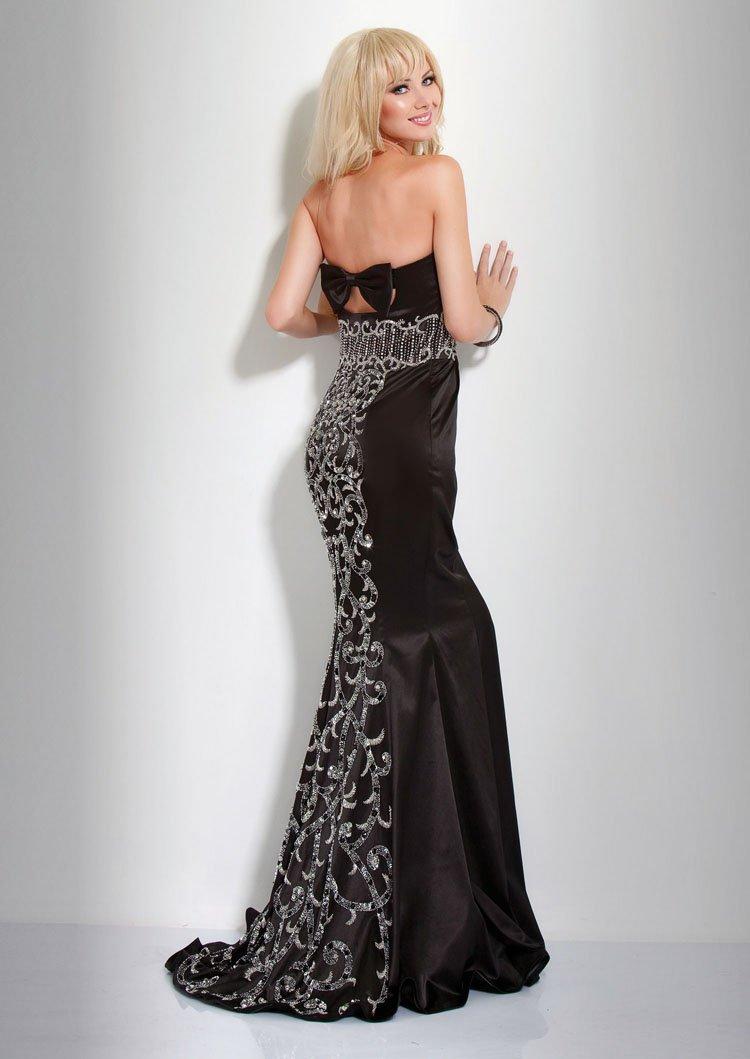 Dopasowana, czarna suknia 7627(J) - Suknie wieczorowe