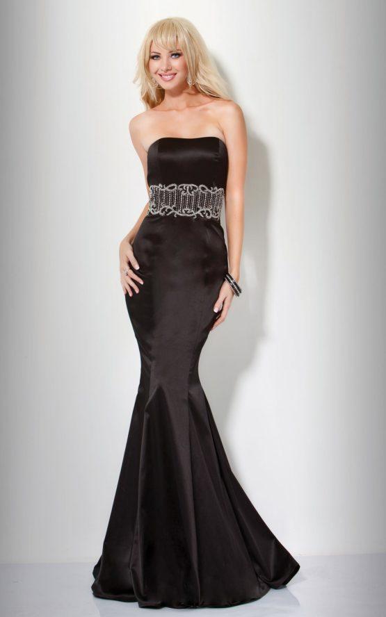 Dopasowana, czarna suknia 7627(J)