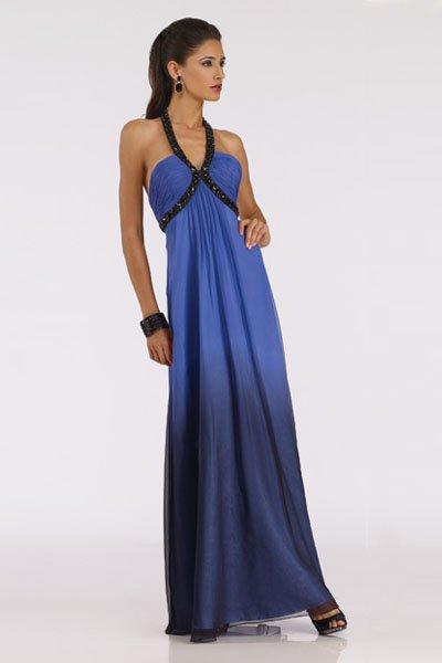 5018 granatowa, cieniowana suknia wieczorowa