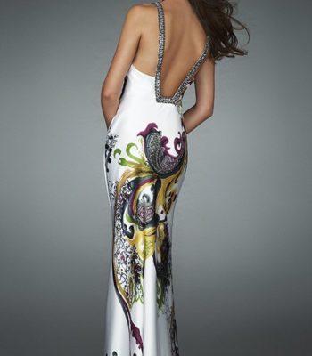 14227LF suknia z motywem roślinnym