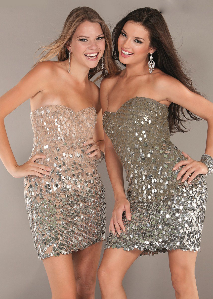 1209J sukienka na studniówkę - Szare/srebrne