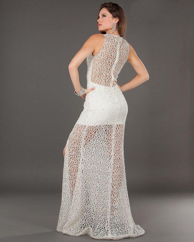 6569J suknia wieczorowa - Białe/beżowe