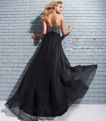 113517 czarna suknia wieczorowa bez ramiączek