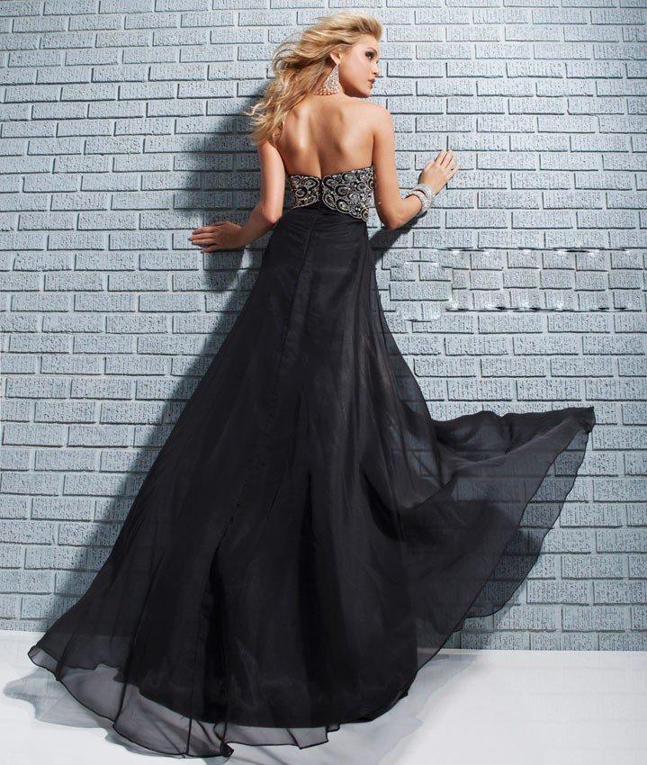 113517 czarna suknia wieczorowa bez ramiączek - Czarne