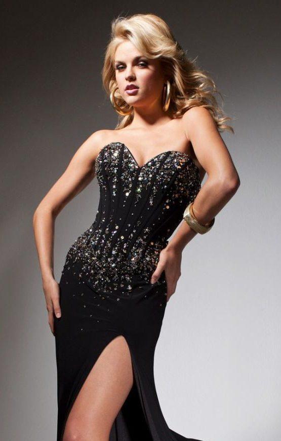 Dopasowana, czarna suknia wieczorowa 113731