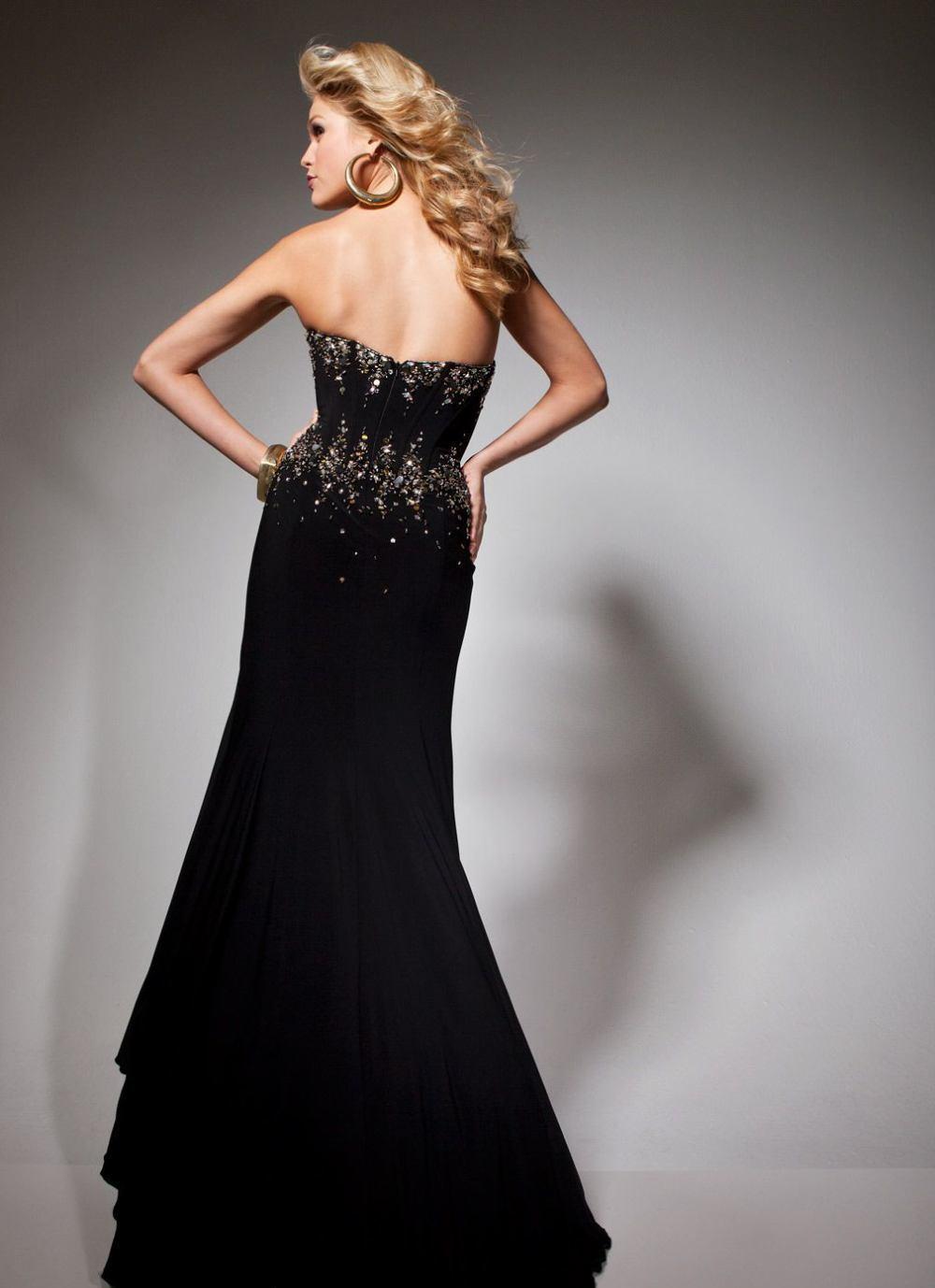 Dopasowana, czarna suknia wieczorowa 113731 - Suknie wieczorowe