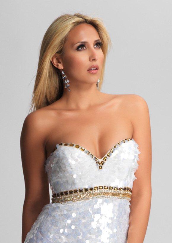 8476 suknia koktajlowa - białe/beżowe