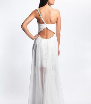 8687 krótko-długa suknia wieczorowa