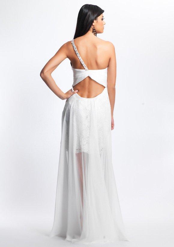 8687 krótko-długa suknia wieczorowa - Suknie wieczorowe