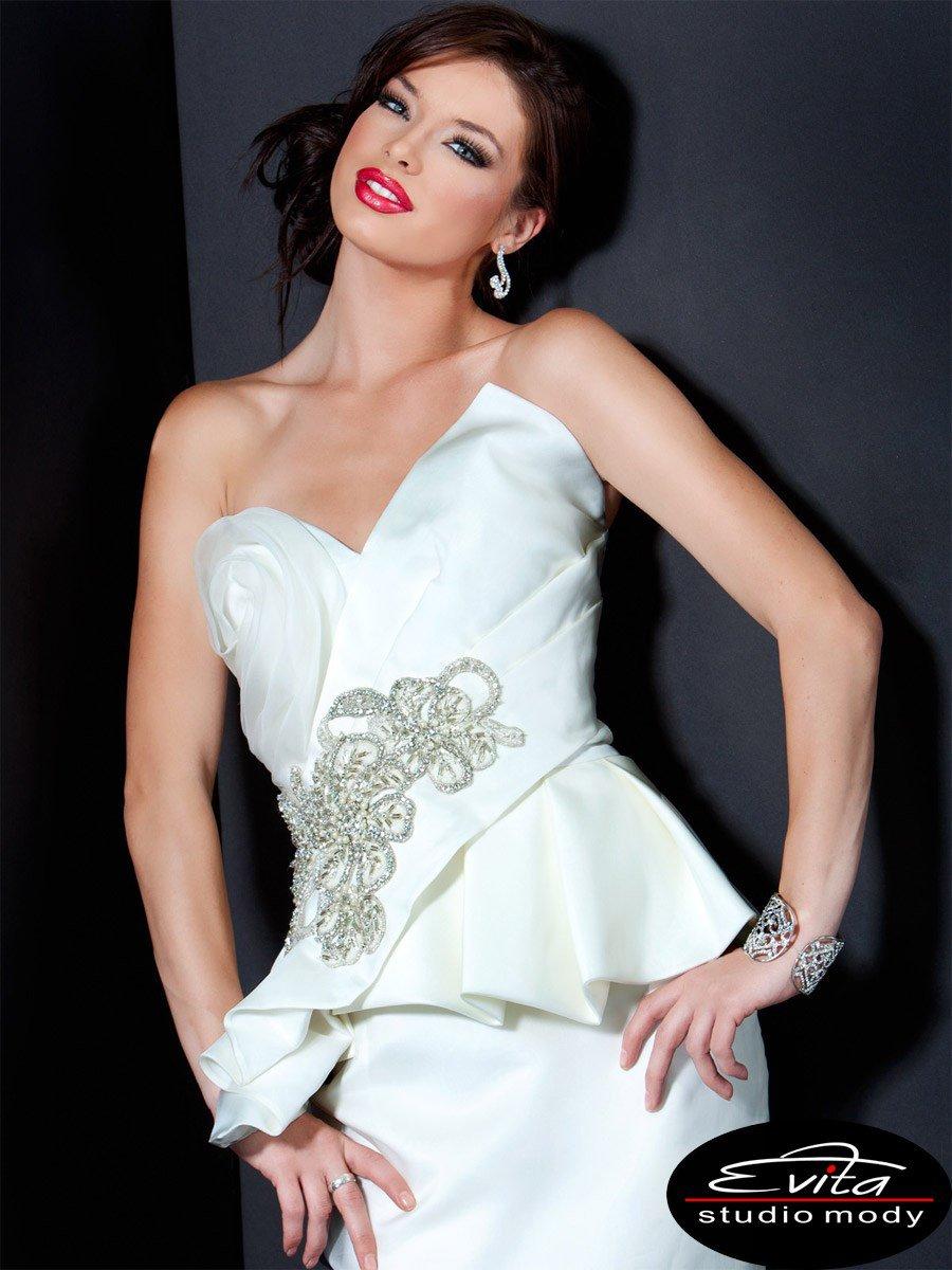9817 suknienka - Białe/beżowe