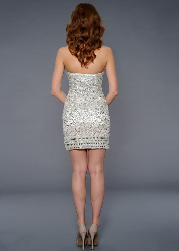 21552 suknia wieczorowa - Białe/beżowe