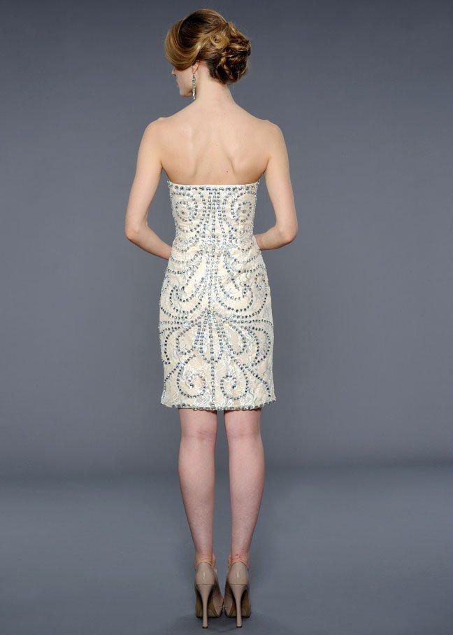 21803 suknia wieczorowa - Białe/beżowe