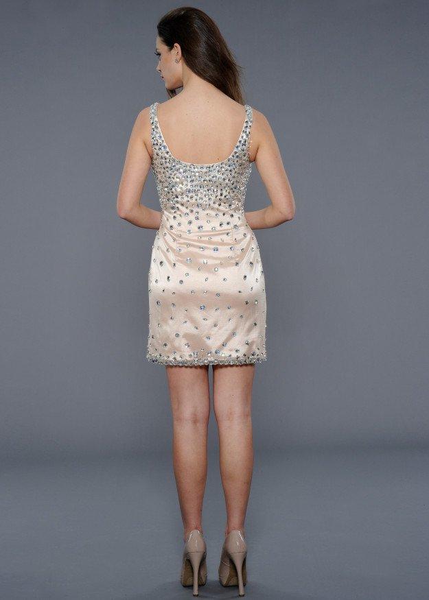 21807 suknia wieczorowa - białe/beżowe