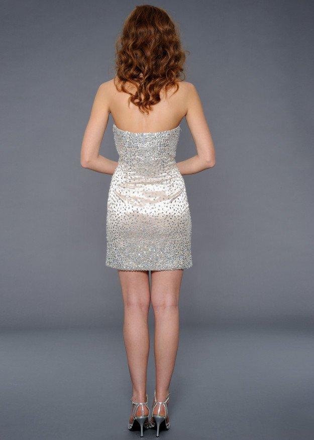 21837 suknia wieczorowa - Białe/beżowe