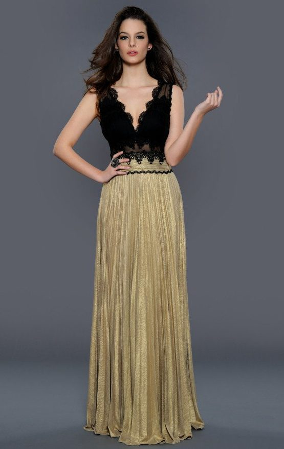 Czarno-złota suknia wieczorowa 32225