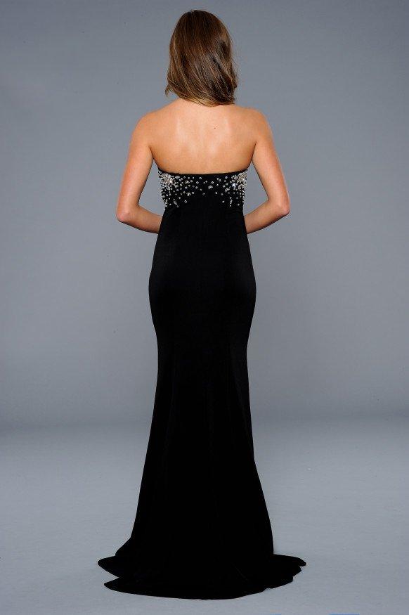 42108 czarna suknia wieczorowa z rozcięciem - Czarne