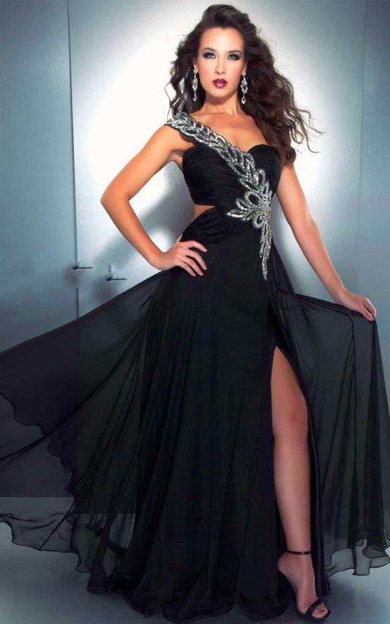 Zwiewna, czarna suknia wieczorowa 6273md