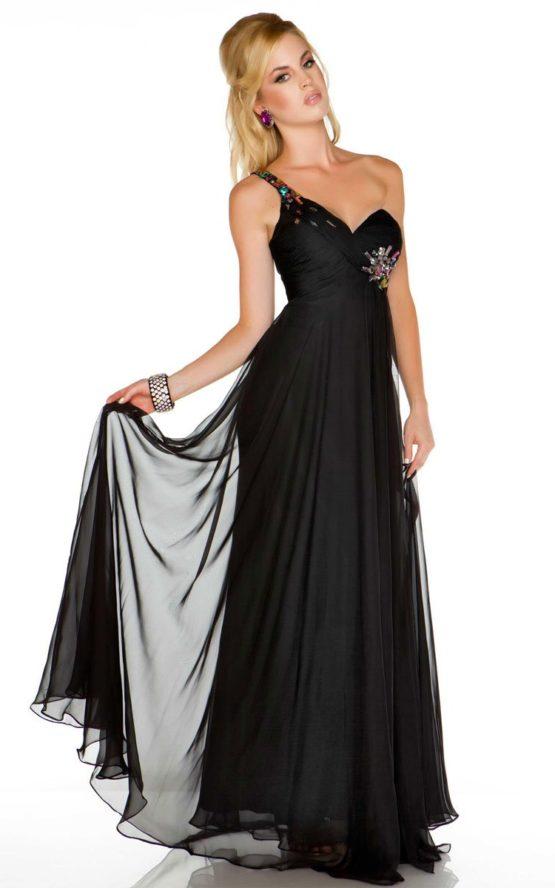Czarna, lejąca suknia wieczorowa 6459md