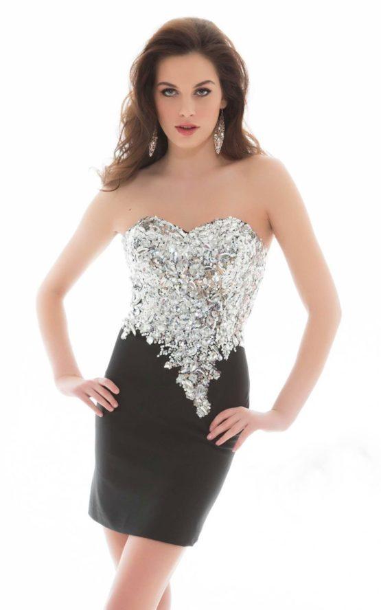 Krótka, czarno-srebrna sukienka 85239