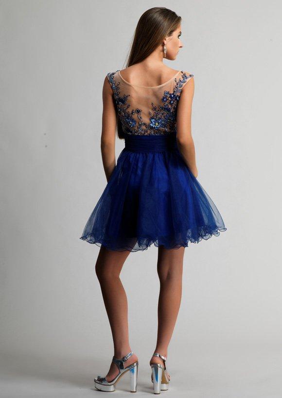 9103 sukienka krótka - Niebieskie/granatowe