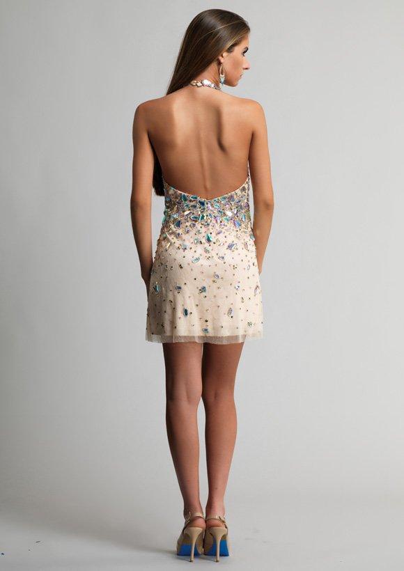9253 sukienka krótka - Szare/srebrne