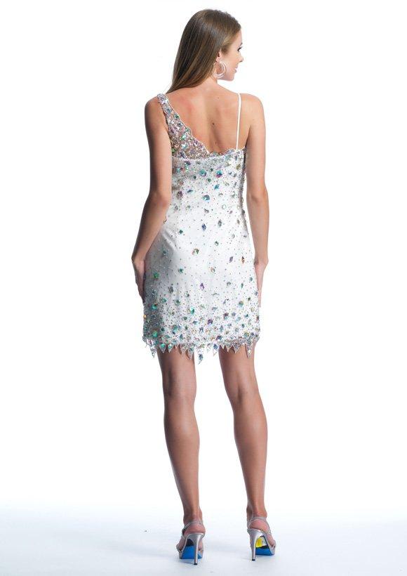 9383 sukienka krótka - Szare/srebrne