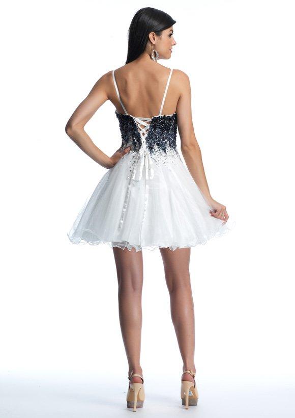 Krótka biała sukienka z gorsetem 9601 - białe/beżowe