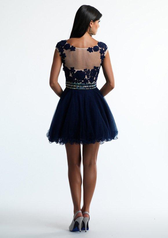 10425 sukienka krótka - Niebieskie/granatowe
