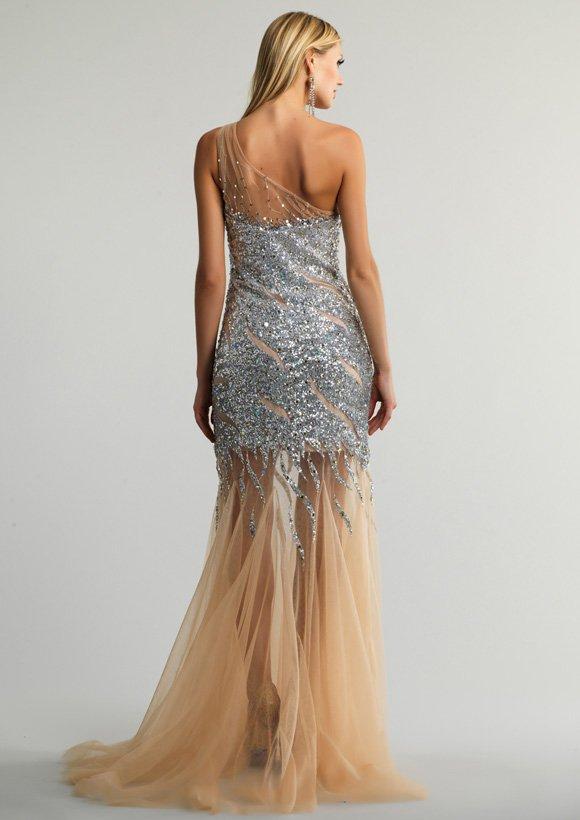 9289 sukienka krótko-długa - Szare/srebrne