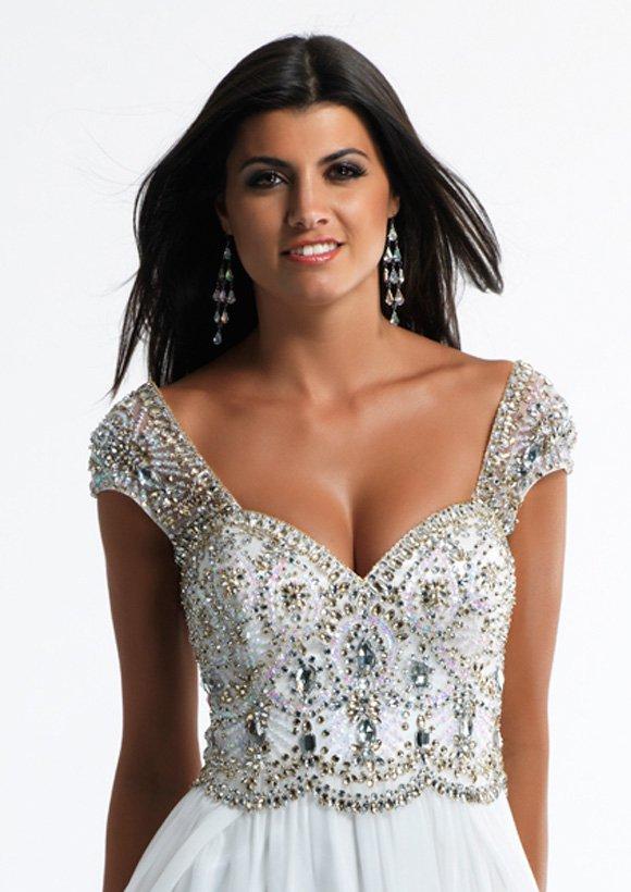 9740 suknia wieczorowa - białe/beżowe