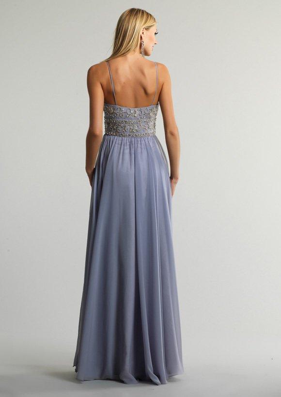 9820 suknia wieczorowa - Szare/srebrne