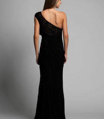 Czarna suknia wieczorowa na jedno ramię 9908
