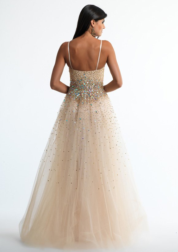 10630 suknia wieczorowa - białe/beżowe
