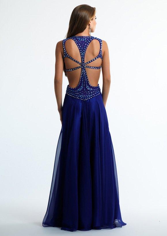 Atramentowa suknia wieczorowa 10634 - Niebieskie/granatowe