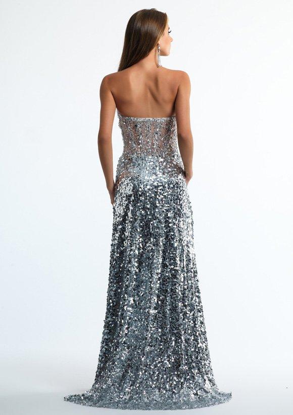 10638 suknia wieczorowa - Szare/srebrne