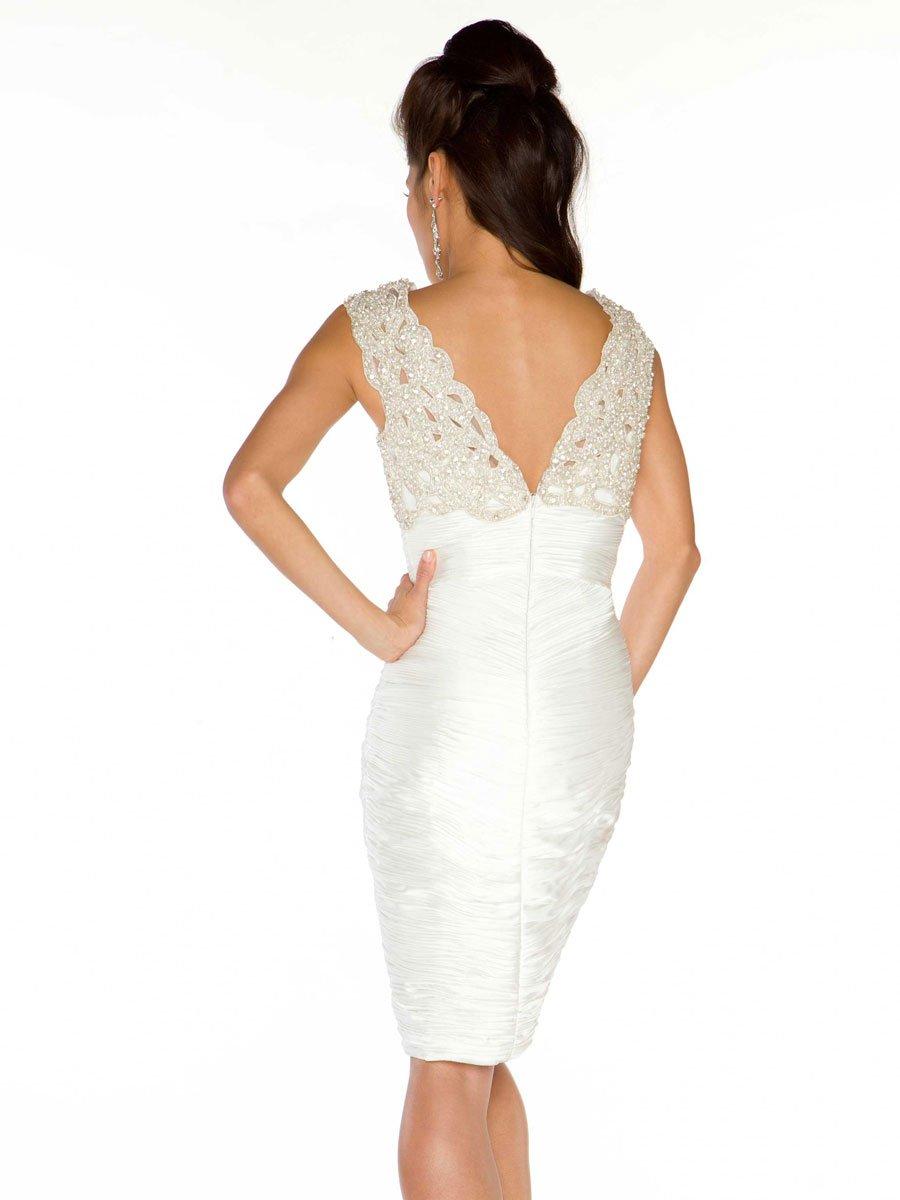 61388 sukienka koktajlowa - białe/beżowe