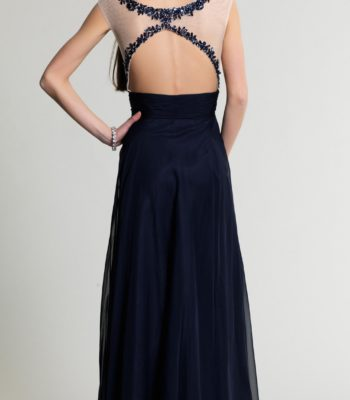 Granatowa suknia z koronką 511