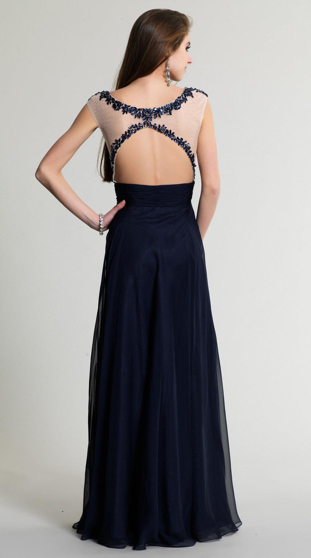 Granatowa suknia z koronką 511 - Suknie wieczorowe
