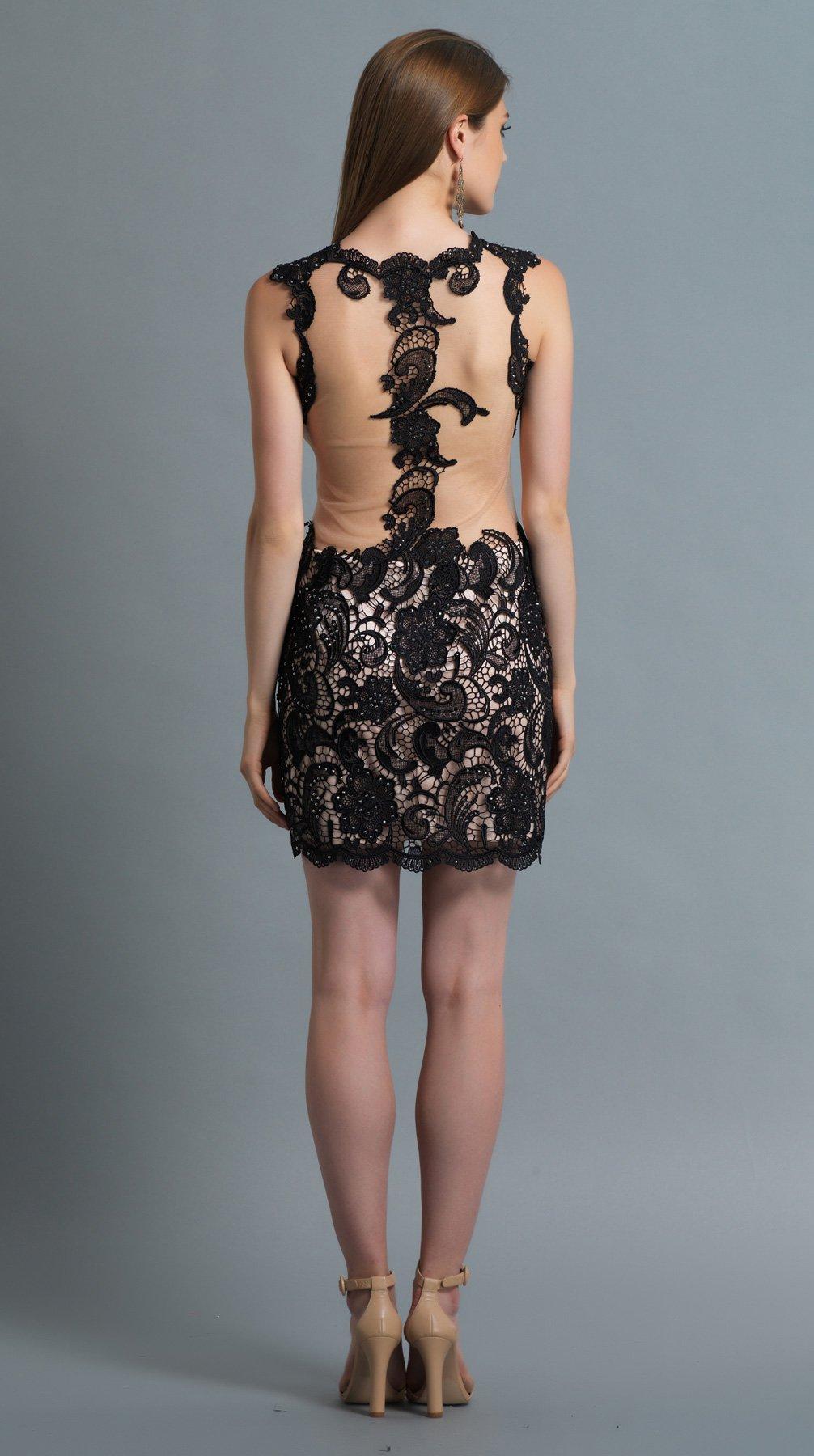 Krótka sukienka z koronką 10490 - Suknie wieczorowe