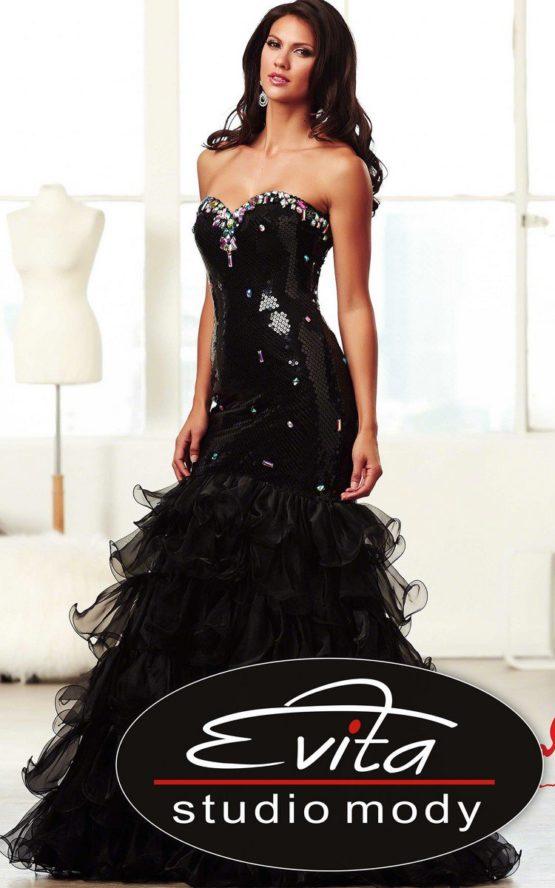 6463 suknia balowa z falbanami