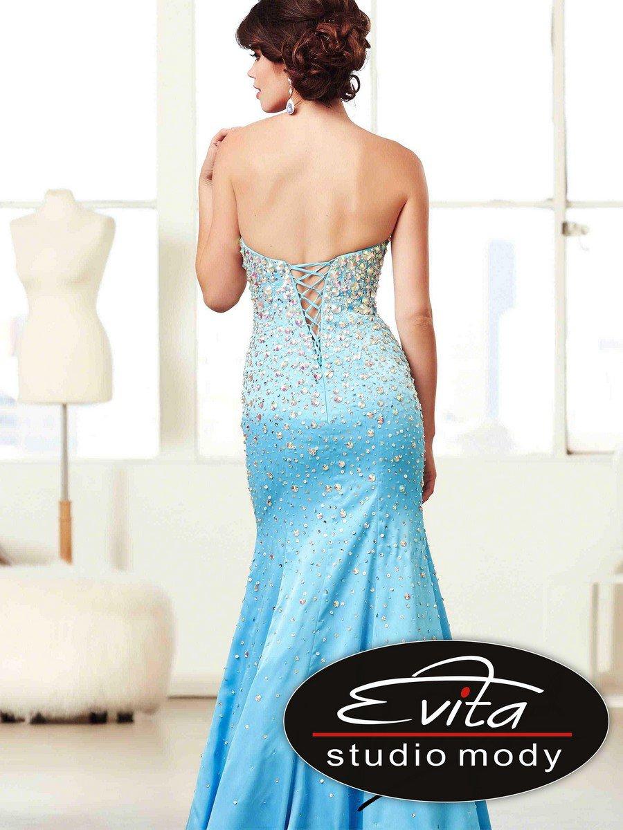 48053 biżuteryjna suknia wieczorowa - Czarne