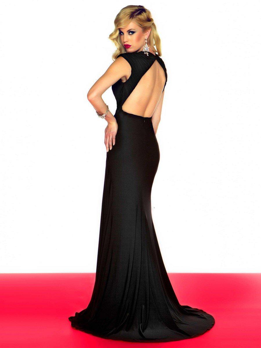 55006 gładka suknia wieczorowa z rozcięciem - Czarne