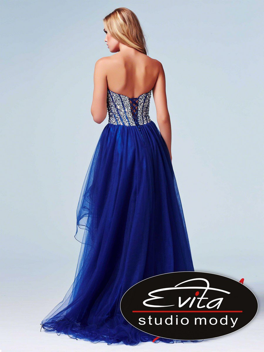 61652  sukienka krótka-długa - Niebieskie/granatowe
